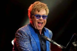 ELTON JOHN: Appearing with his band at the Palacio de los Deportes Martín Carpena in Malaga on July 15
