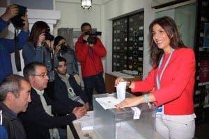 RONDA: PP candidate Mari Paz Fernandez Lobato casts her vote