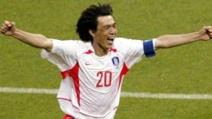 CELEBRATION: South Korea player Myung Bo