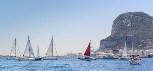 SETTING SAIL: Yachts depart Gibraltar for Smir, Morocco. Photo by MeteoGib