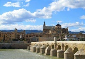 The Cordoba Mezquita seen from Roman bridge