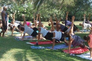 YOGA TIME: There is a special yoga space at the festival