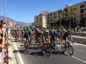 Vuelta cyclists in Sabinillas Copyright Olive Press