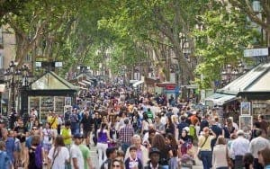 Barcelona attracts tourists from all over
