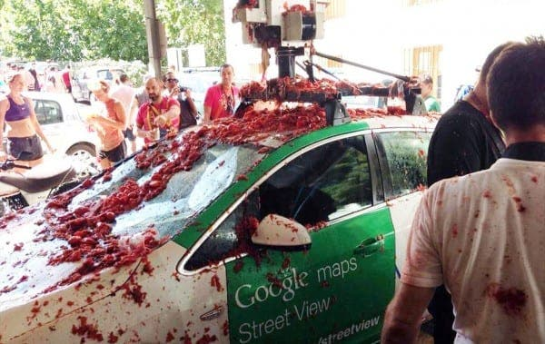 Google Street View car is pelted with tomatoes at Spains