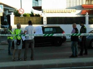 MIJAS SHOOTING: The black VW Golf GTi at the scene of the murder