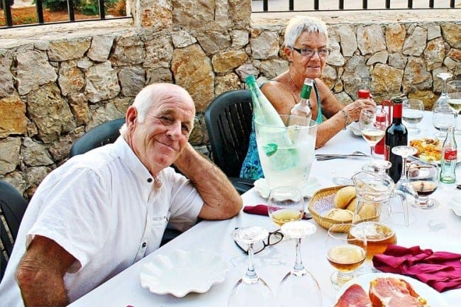 Peter and Jean Tarsey relaxing in Spain