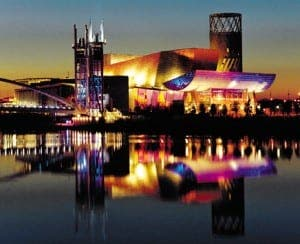 The Lowry  theatre and gallery complex  at Salford Quays, in  Greater Manchester