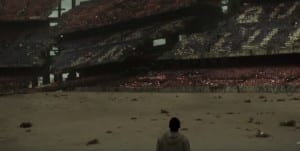 RUINED: Barcelona´s home the Nou Çamp in ruins in new sci-fi film