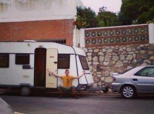 WHEELEY GOOD: Broke student brings caravan from Spain