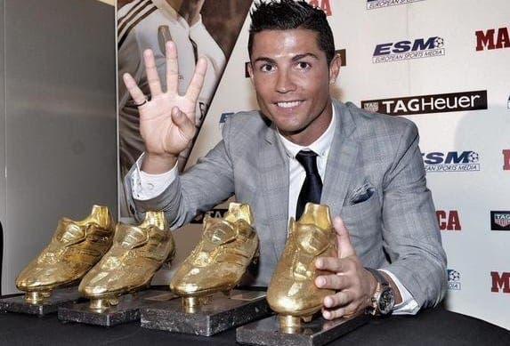 Cristiano Ronaldo celebrates Golden Boot win
