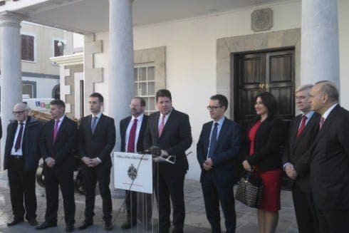 Picardo and ministers outside Number 6