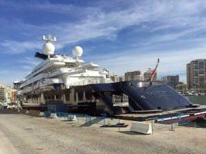Super yacht Octopus docked in Malaga