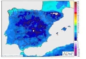 Minimum temperatures across Spain predicted for this weekend