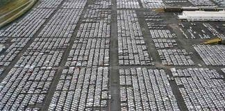 new cars storage lot