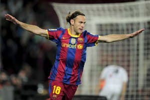 TAX DEBT:Ex-Barcelona defender Gabriel Milito celebrates his goal during the Spanish King's Cup (Copa del Rey) football match Barcelona against Ceuta on November 10, 2010 at the Camp Nou stadium in Barcelona. AFP PHOTO/ JOSEP LAGO (Photo credit should read JOSEP LAGO/AFP/Getty Images)