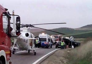 Air ambulance and emergency services at the scene of the accident near Teba