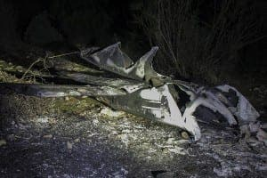 The burnt out wreckage of the light aircraft. Photo: www.lavozderonda.es