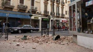 DAMAGE: Melilla street following Monday's quake