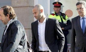 SPARED: Mascherano walks free from court