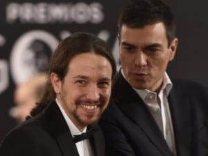 Pablo Iglesias in suit and tie at the 30th annual Goya Film Awards in Madrid