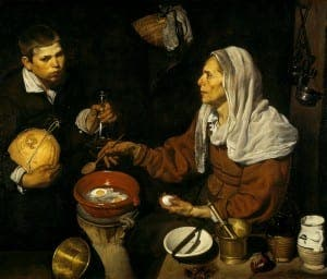 REFLECTION: Old woman frying eggs