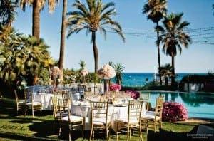 BEACHSIDE: Wedding set up at the Marbella Club Hotel.Photo courtesy of Anna Gazda