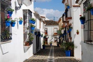 BLOOMING QUAINT: Streets in the old town decorated with flower pots
