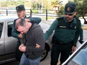 FUGITIVE: Corner brought inside by Guardia Civil. PHOTO: Copyright The Olive Press
