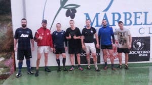 DRENCHED: A few of Marbella's Gaelic footballers