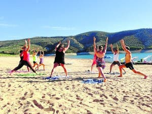 Yoga on Iznajar beach