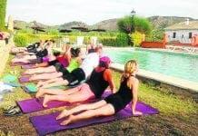 pool yoga landscape
