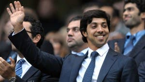 Manchester city owner Sheikh Mansour bin Zayed Al Nahyan (C) looks on during the English Premier League football match against Liverpool at The City of Manchester stadium, Manchester, north-west England on August 23, 2010. AFP PHOTO/ANDREW YATES. FOR EDITORIAL USE Additional licence required for any commercial/promotional use or use on TV or internet (except identical online version of newspaper) of Premier League/Football League photos. Tel DataCo +44 207 2981656. Do not alter/modify photo (Photo credit should read ANDREW YATES/AFP/Getty Images)