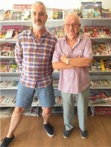 Stephen Davies (left) and Harry Ramsden in The Sabinillas Bookshop