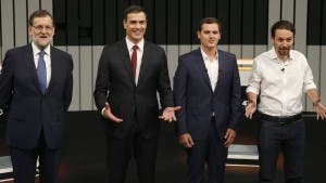From left: Rajoy, Sanchez, Rivera, and Iglesias