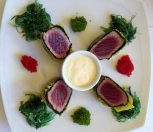 Tartaki of bluefin tuna, with a wakame salad, egg roe 'tobiko' and mayonnaise wasabi