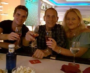 CHEERS: Writer Laurence with pals