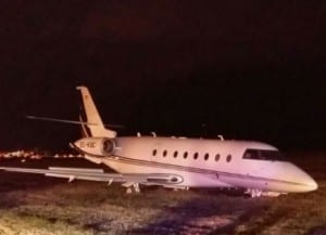 Ronaldo's plane that has crashed upon landing at Barcelona's El Prat airport.