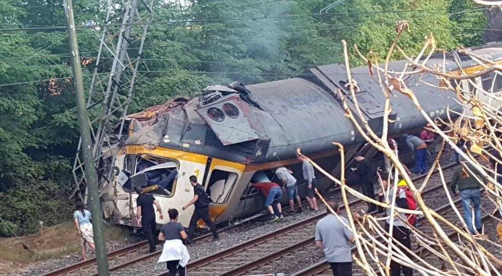 O Porrino train derailment in Galicia. Twitter: @GxDRadioGalega