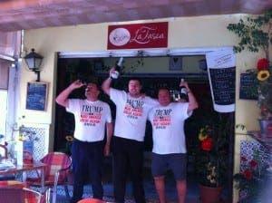 PARTY TIME: Jose (centre) celebrates Trump win with champagne