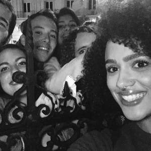 Game of Thrones star Nathalie Emmanuel with fans in Sevilla