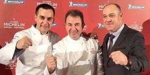 Martin Berasategui, centre, who has won a new three star Michelin award