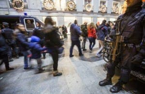 THREAT: Spanish police on patrol in Madrid