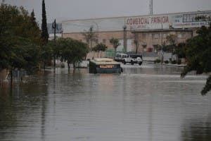A submerged bus in Malaga