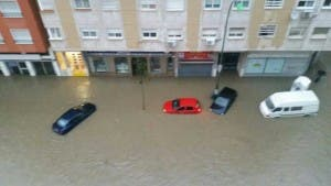 A flooded street in Malaga that was on the city's marathon route