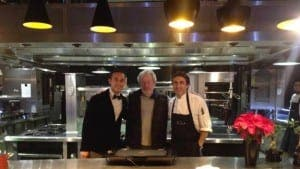 Ridley Scott, centre, with Malaga chef Jose Carlos Garcia, right