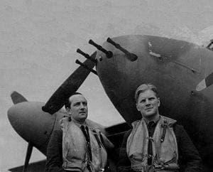 Braham (right), with his radio and radar operator