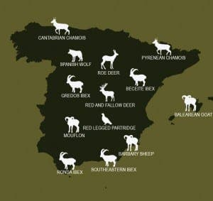 Map showing popular hunting locations in Spain