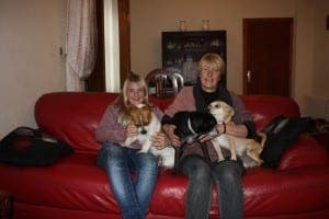 Illona Mitchell with some of her dogs and daughter Ella