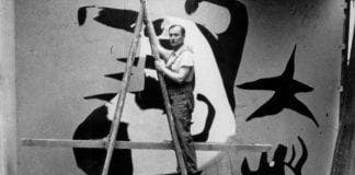 Joan Miró paints his mural The Reaper at the Spanish pavilion in
